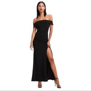 NEW Lulus Aveline Off the Shoulder Maxi Dress